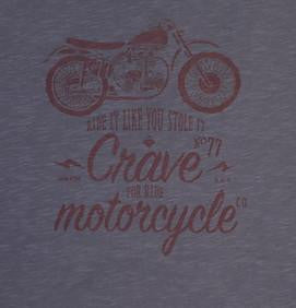 T-shirt -  Scrambler with Crave Motorcycle CO - Slim fit - Grey - By Crave fior Ride