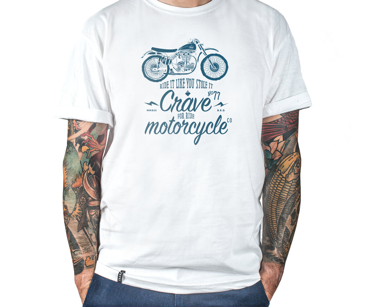 Motorcycle T-shirt -  Scrambler - white