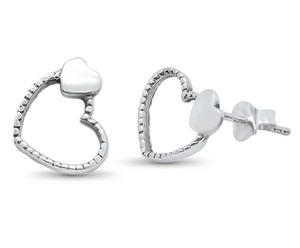 Sterling Silver Heart Over Heart Earrings