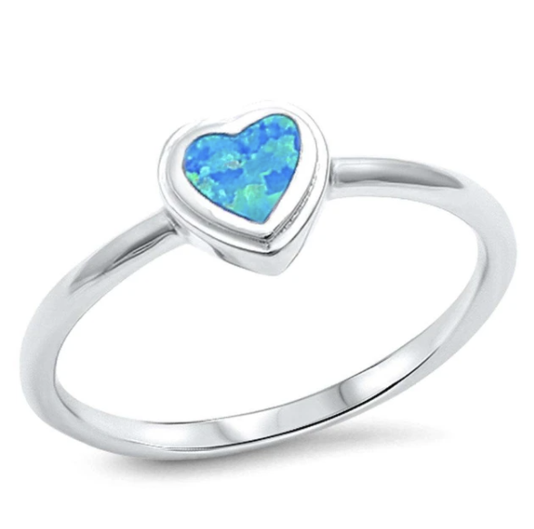 Sterling Silver Blue Opal Heart Ring