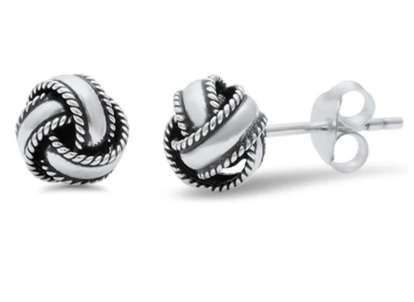 Sterling Silver Braided Studs Earrings