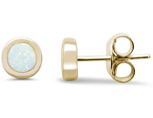 Sterling Silver White Opal Circle Gold Plated Earrings