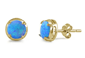 Sterling Silver Blue Opal Round Gold Plated Earrings