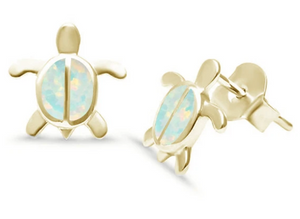 Sterling Silver White Opal Turtle Gold Plated Earrings