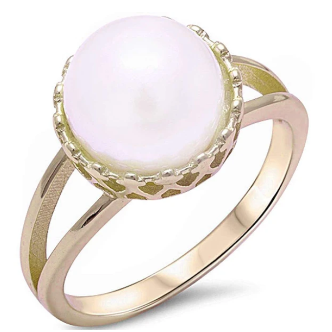Sterling Silver White Pearl Gold Plated Ring