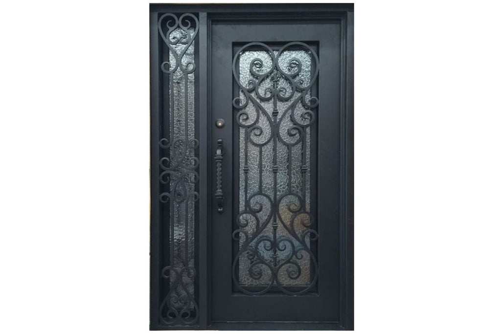 Stonehenge SH 09 Wrought Iron Exterior Door with Sidelight size 50 x 82