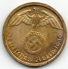 Germany 10 Pfennig 1939 G - Bright Red