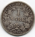 Germany 1 Mark 1880 E (90.0% Silver) - RARE