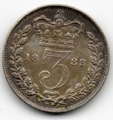 Great Britain 3 Pence 1883 - Queen Victoria - PRETTY