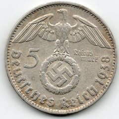Germany 5 Reichsmark 1938 D