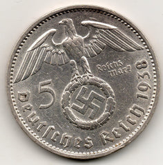 Germany 5 Reichsmark 1938 F