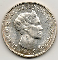 Luxembourg 100 Francs 1963 (83.5% Silver)