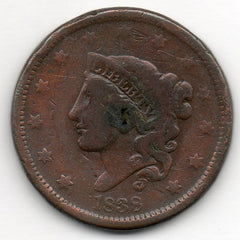 1838 Large Cent (Coronet Head Penny)
