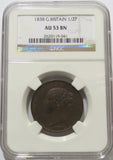 Great Britain 1/2 Penny 1838 NGC AU 53 Brown