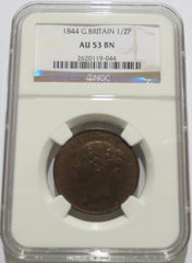 Great Britain 1/2 Penny 1844 (KM-726) NGC AU 53 Brown