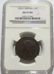 Great Britain 1/2 Penny 1854 (KM-726) NGC AU 55 Brown