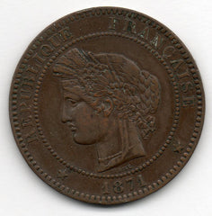 France 10 Centimes 1871 A