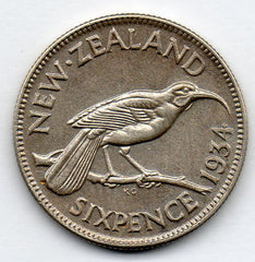 New Zealand 6 Pence 1934 (Sixpence) (50.0% Silver)