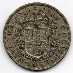 New Zealand 1/2 Crown 1937 (Half Crown) (50.0% Silver)