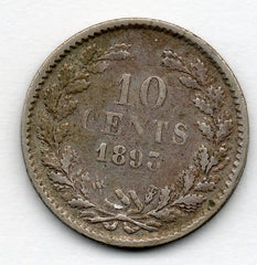 Netherlands 10 Cent 1893 (64.0% Silver)