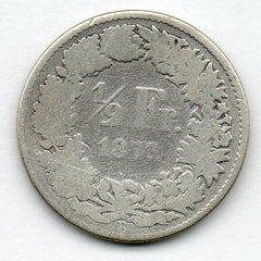 Switzerland 1/2 Franc 1877 - SCARCE (83.5% Silver)