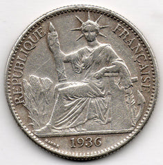 French Indochina 50 Cents 1936 (90.0% Silver)
