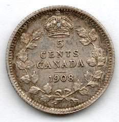 Canada 5 Cent 1908 (Nickel) (92.5% Silver)
