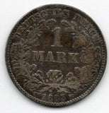Germany 1 Mark 1885 J (90.0% Silver) - SCARCE