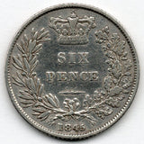 Great Britain 6 Pence 1845 (Sixpence)
