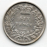Great Britain 6 Pence 1859 (Sixpence) (92.5% Silver)