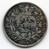 Great Britain 6 Pence 1871 (Sixpence) (92.5% Silver)