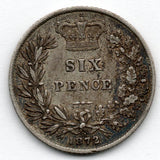 "Great Britain 6 Pence 1872 ""31"" (Sixpence) (92.5% Silver)"