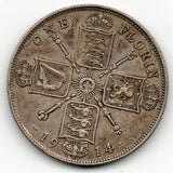 Great Britain 1 Florin 1914 (92.5% Silver)