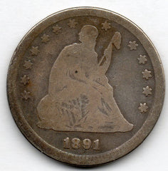 1891-P Seated Liberty Quarter (90.0% Silver)