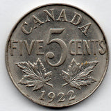 Canada 5 Cent 1922 (Nickel)