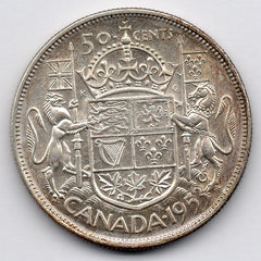Canada 50 Cent 1953 - Large Date (Half Dollar) (80.0% Silver)