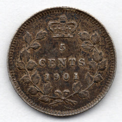 Canada 5 Cent 1901 (Nickel) (92.5% Silver)