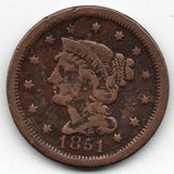 1851 Large Cent (Braided Head Penny)