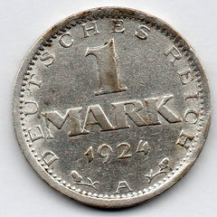 Germany 1 Mark 1924 A (50.0% Silver)