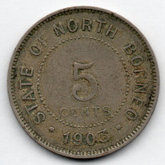 British North Borneo 5 Cents 1903