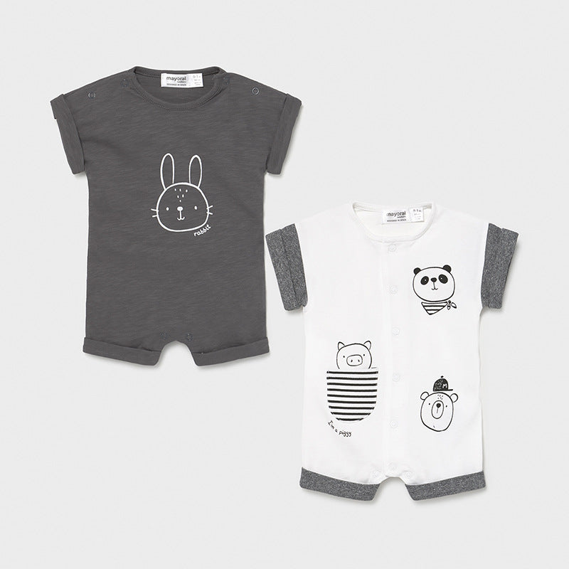 MAYORAL NEWBORN SET OF 2 SHORT ROMPERS CHARCOAL