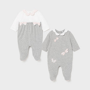MAYORAL NEWBORN LONG ONESIE (2 PIECES) SILVER