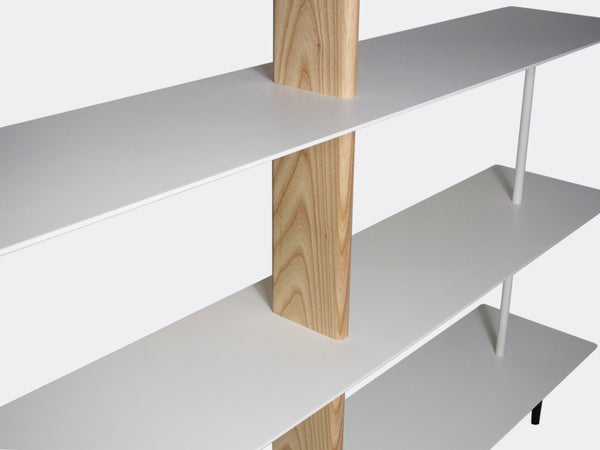 White aluminium natural wood bookshelf