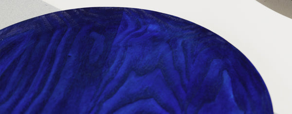Deep blue water-based stain on wooden trays