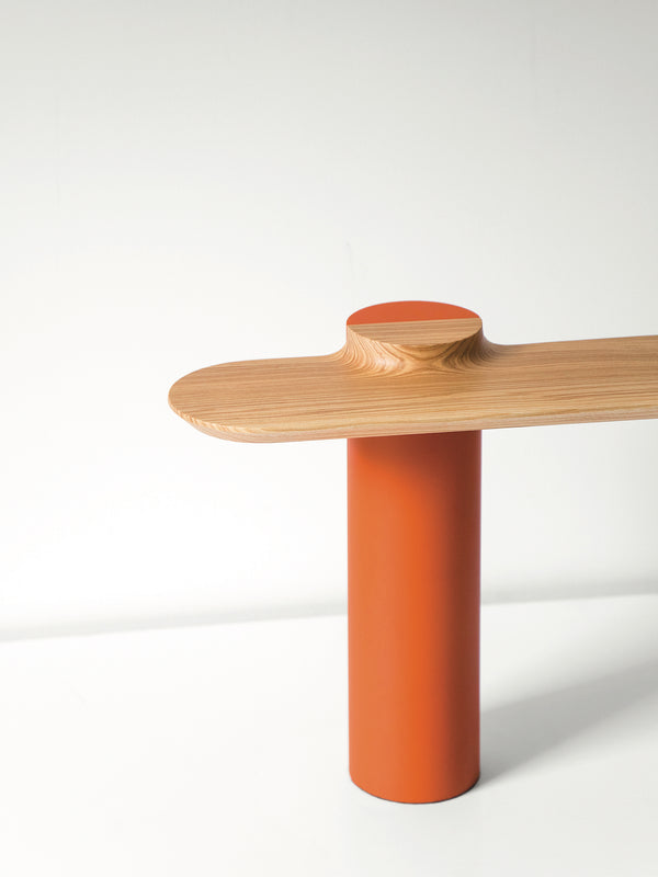 Wood and steel, table lamp Plateau by Ferréol Babin