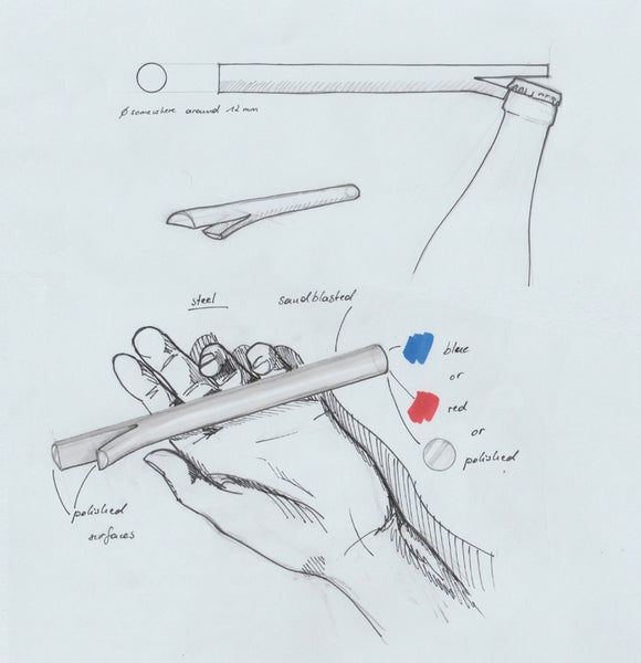 Ast bottle opener by studio bonpart preparatory drawing
