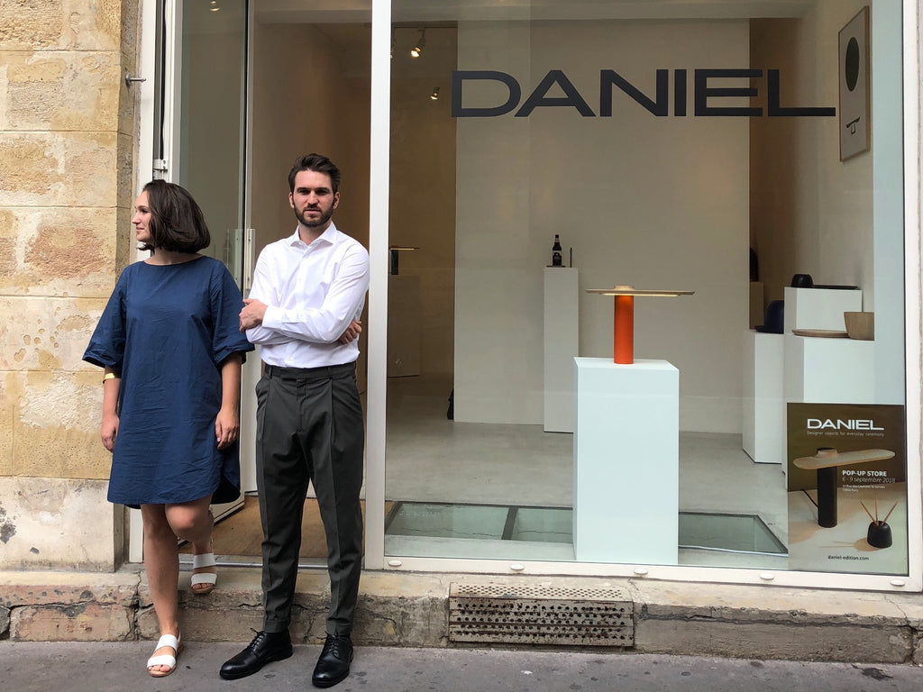 Etienne and Karolien at DANIEL édition pop-up store Paris for Paris Design Week 2018
