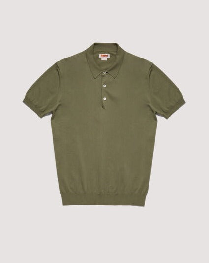 Baracuta ss Polo Knit Cotton Army Garment Dyed