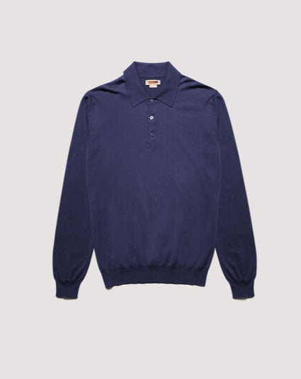 Baracuta ss Polo Knit Cotton Blue Navy Garment Dyed