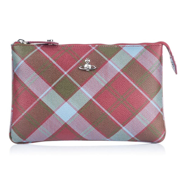 VIVIENNE WESTWOOD MO DERBY TOP ZIP PURSE BAG VIVIENNE'S TARTAN